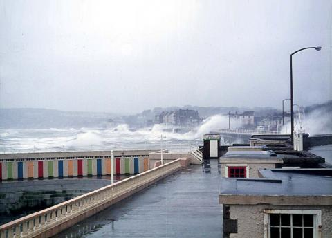 Promenade during storm, Jubilee Pool walls visible (3 of 4)