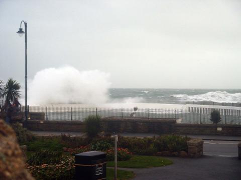 Waves crash over Jubilee Pool