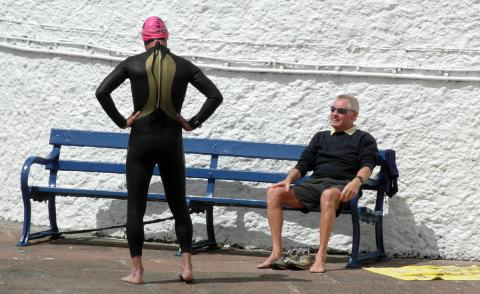 Swimmer and watcher at the Jubilee Pool