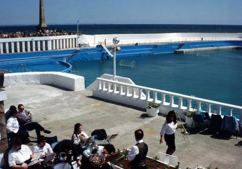 Band playing at the 'Grand Re-opening' of the Jubilee Pool in 1994