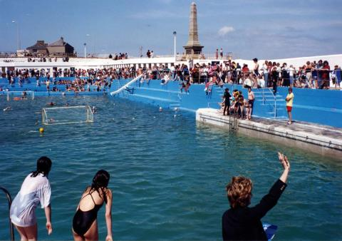 Crowds watch water polo at 'Grand Re-opening' in 1994