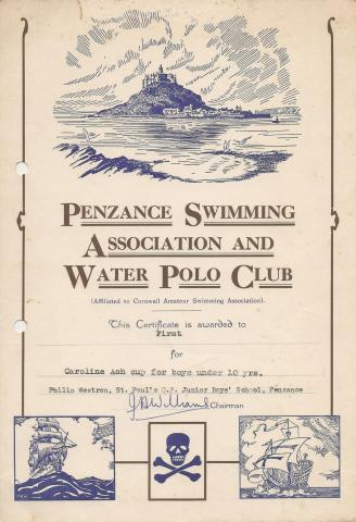 Phil Westren swimming certificate 1961