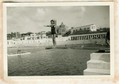 Ruth Trevenen on the diving board