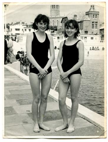 Original photo, Beverly and Ruth success in swimming race