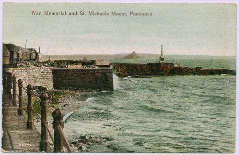 War Memorial and St Michael's Mount, Penzance